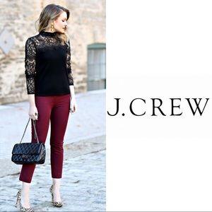 J Crew Burgundy Crop Stretch Skinny Capri Pants